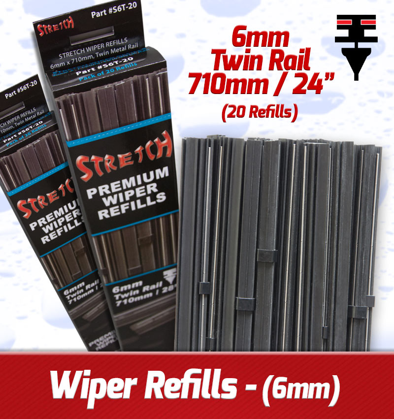 6mm X 710mm Twin Rail Wiper Refills – (Pack Of 20)