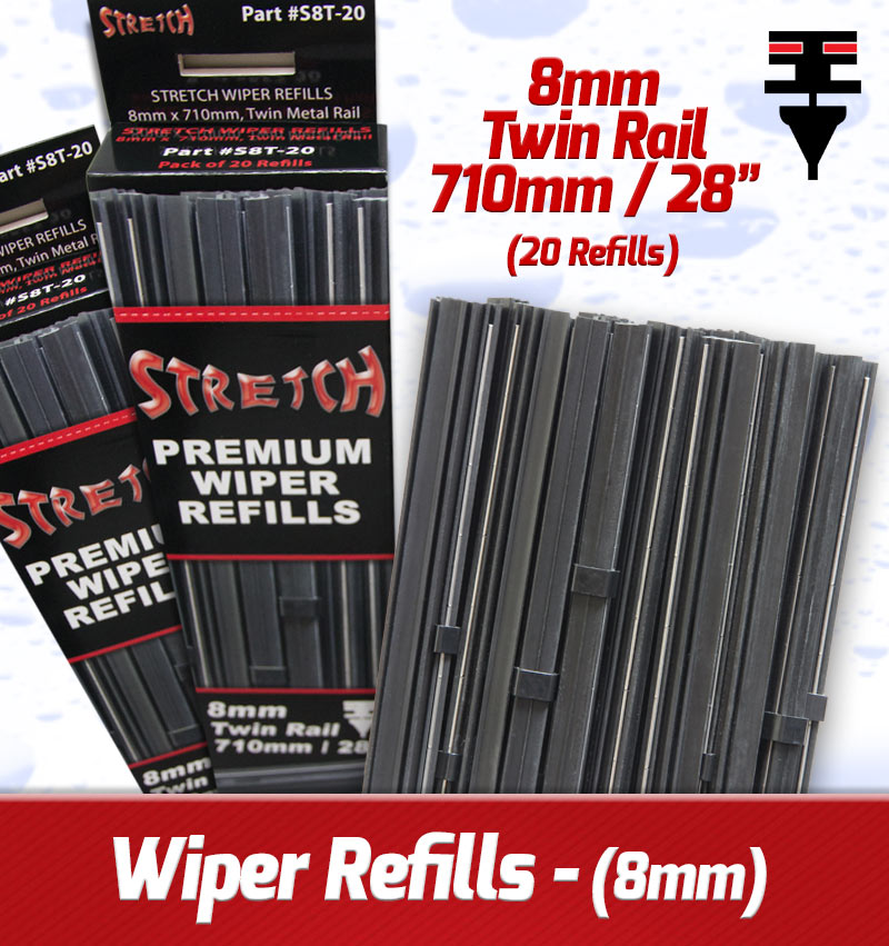 8mm X 710mm Twin Rail Wiper Refills – (Pack Of 20)